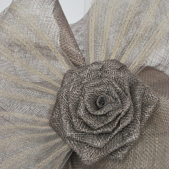 Silver Grey Sinamay Saucer Fascinator with Crinoline and Rose Flower - detail 3