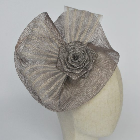 Silver Grey Sinamay Saucer Fascinator with Crinoline and Rose Flower - detail