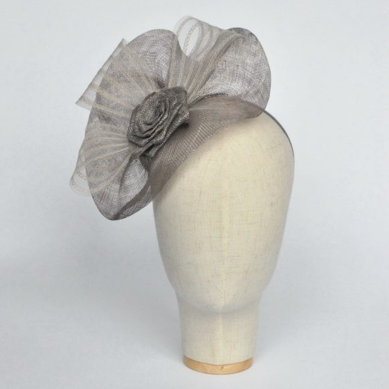 Silver Grey Sinamay Saucer Fascinator with Crinoline and Rose Flower - front