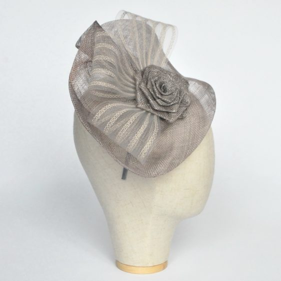 Silver Grey Sinamay Saucer Fascinator with Crinoline and Rose Flower - side