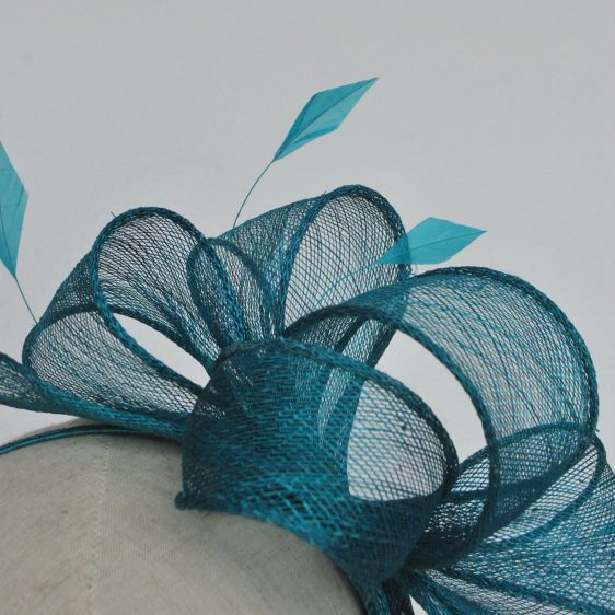 Turquoise Rolled Sinamay Fascinator with Loops and Coque Feathers - detail 2