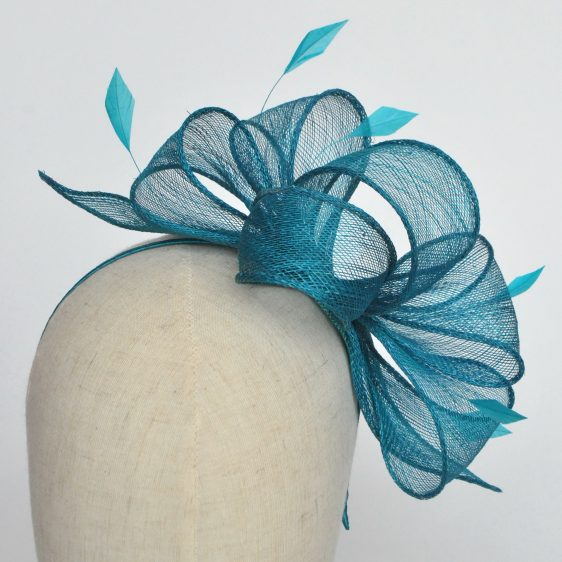 Turquoise Rolled Sinamay Fascinator with Loops and Coque Feathers - detail