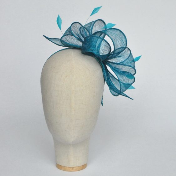 Turquoise Rolled Sinamay Fascinator with Loops and Coque Feathers - front