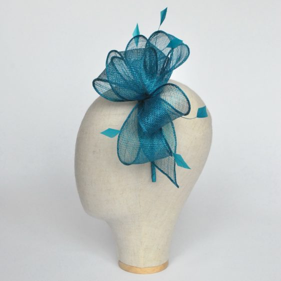 Turquoise Rolled Sinamay Fascinator with Loops and Coque Feathers - side