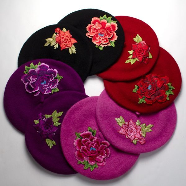 Berets with Embroidered Flowers New Collection