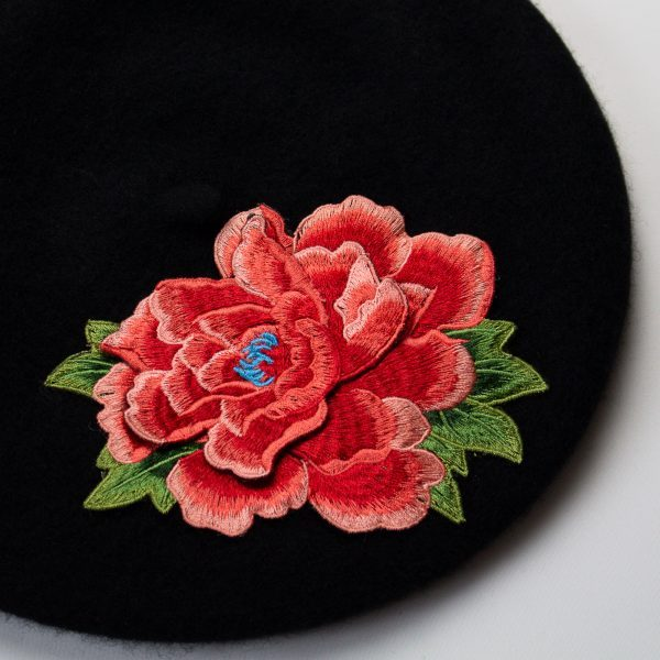 Black Women's Beret with Coral Embroidered Flower