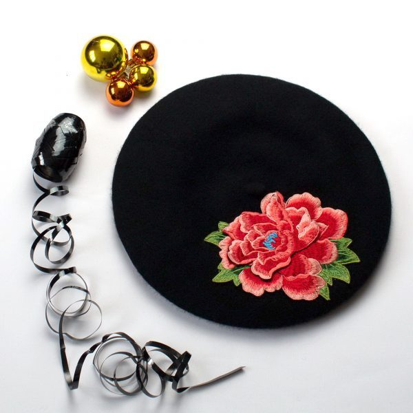 Black Beret with Coral Flower
