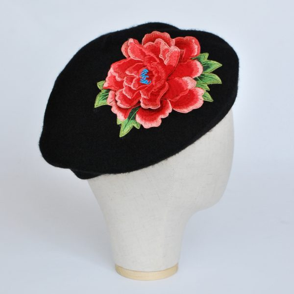 Black French Beret with Coral Embroidered Flower