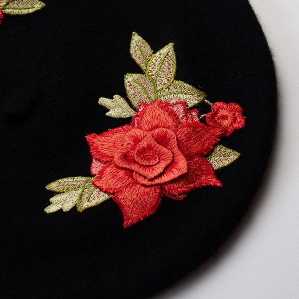 Black Women's Beret with Embroidery Roses