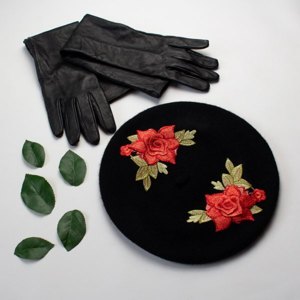 Black Beret with Coral Roses