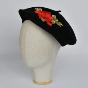 Black Women's Beret Hat with Coral Rose Flowers