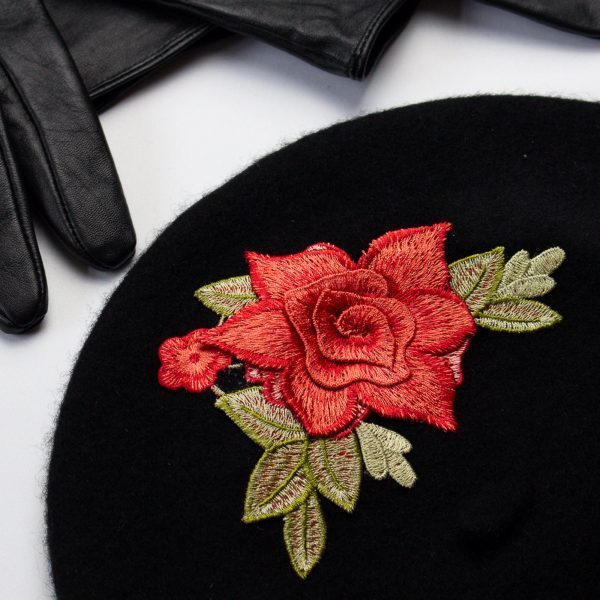 Black Women's Beret with Coral Roses