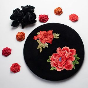 Black Beret with Embroidery Flowers
