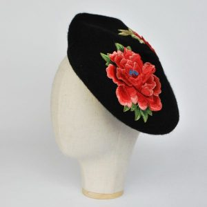 Black Autumn Beret Hat with Embroidery Flowers