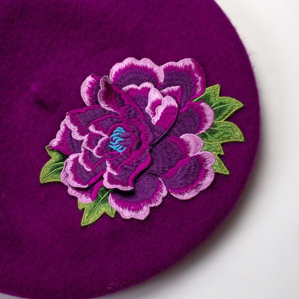 Magenta French Beret with Purple Embroidery Flower