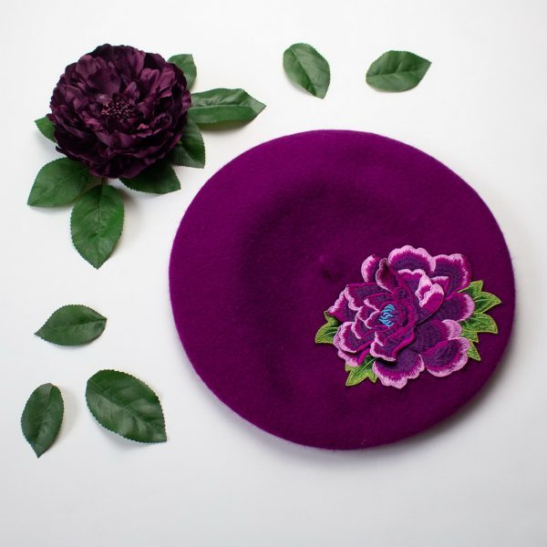 Magenta Beret with Purple Flower