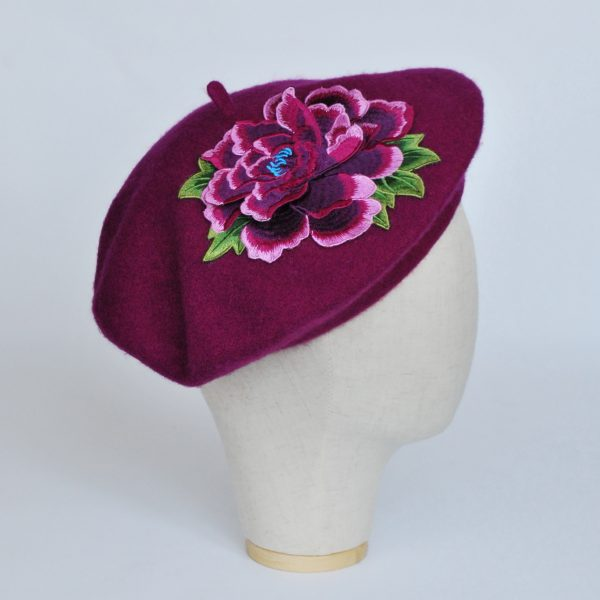 Magenta Women's Beret with Purple Embroidery Flower