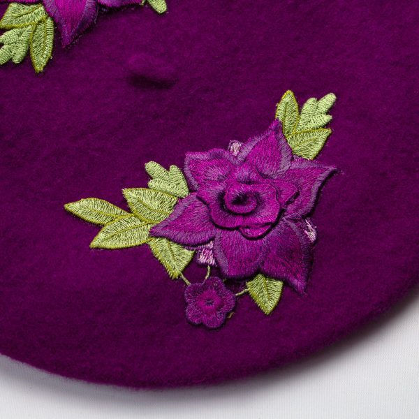 Magenta Women's Beret with Embroidered Purple Roses