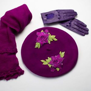 Magenta Beret with Purple Roses
