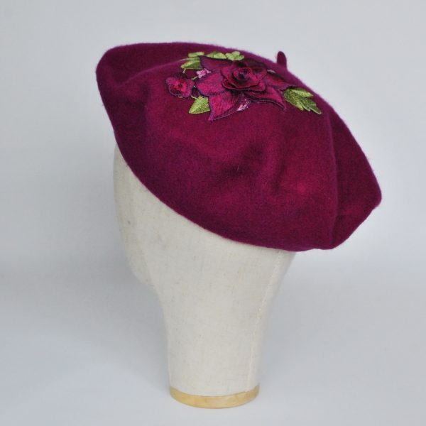 Magenta Women's Beret Hat with Purple Rose Flowers