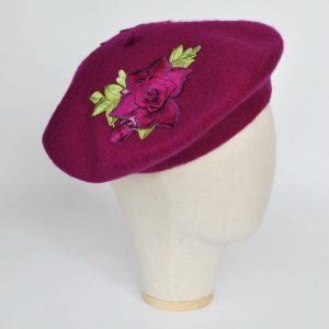 Magenta Wool Felt Beret Hat with Purple Rose Flowers