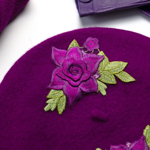 Magenta French Beret with Embroidered Purple Roses