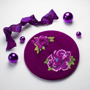 Magenta Beret with Embroidery Flowers