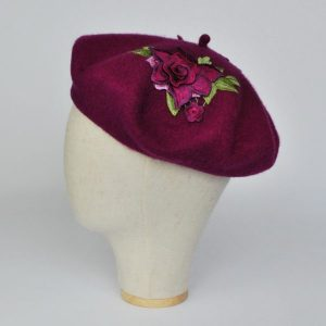 Magenta Autumn Beret Hat with Embroidery Flowers