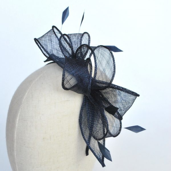 Navy Blue Sinamay Loop Fascinator