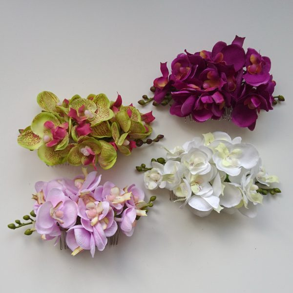Orchid Flower Hair Combs