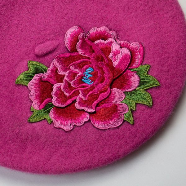 Pink Women's Beret with Pink Embroidery Flower