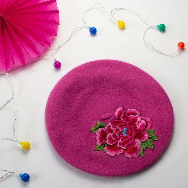 Pink Beret with Pink Flower
