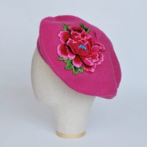 Pink French Beret with Pink Embroidery Flower