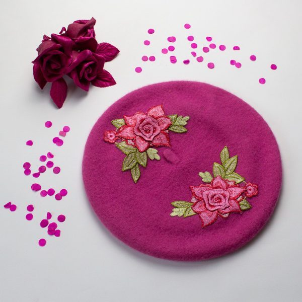 Pink Beret with Pink Roses