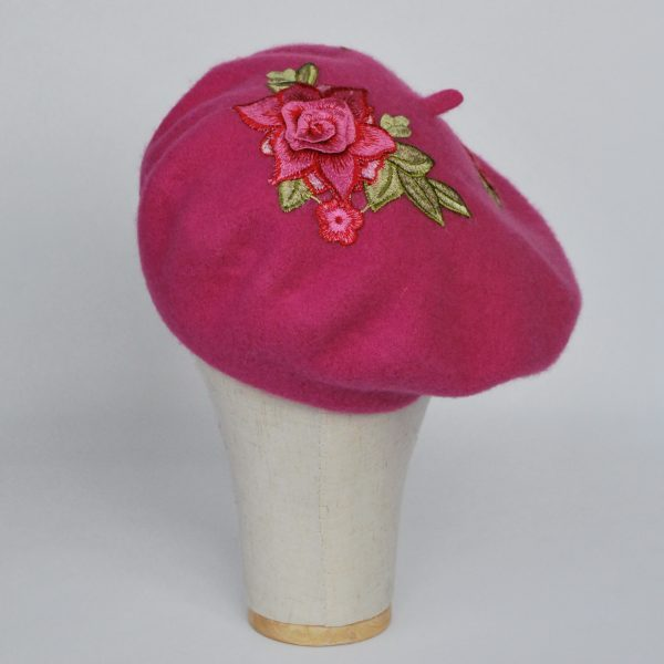 Pink Women's Beret Hat with Pink Rose Flowers