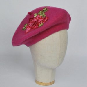 Pink Wool Felt Beret Hat with Pink Rose Flowers