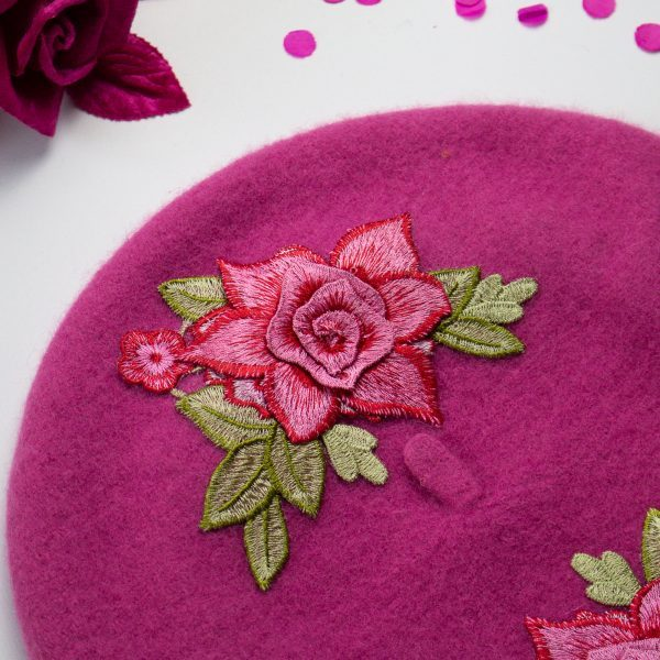 Pink French Beret with Pink Embroidery Roses