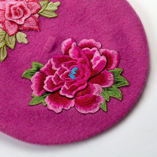 Pink French Beret with Embroidery Flowers