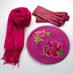 Pink Beret with Embroidery Flowers