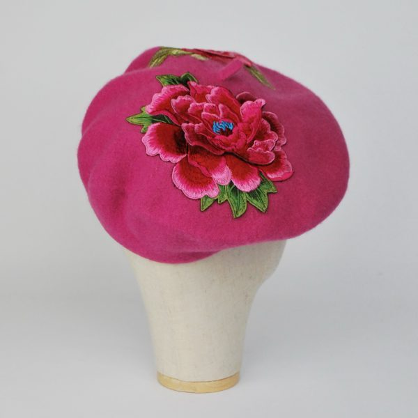 Pink Winter Beret Hat with Embroidery Flowers