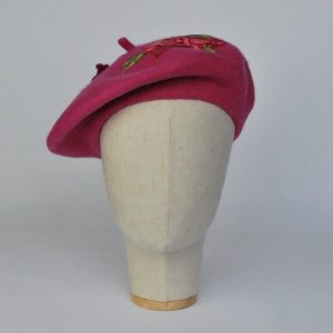 Pink Autumn Beret Hat with Embroidery Flowers