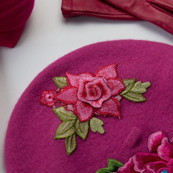 Pink Women's Beret with Embroidery Flowers