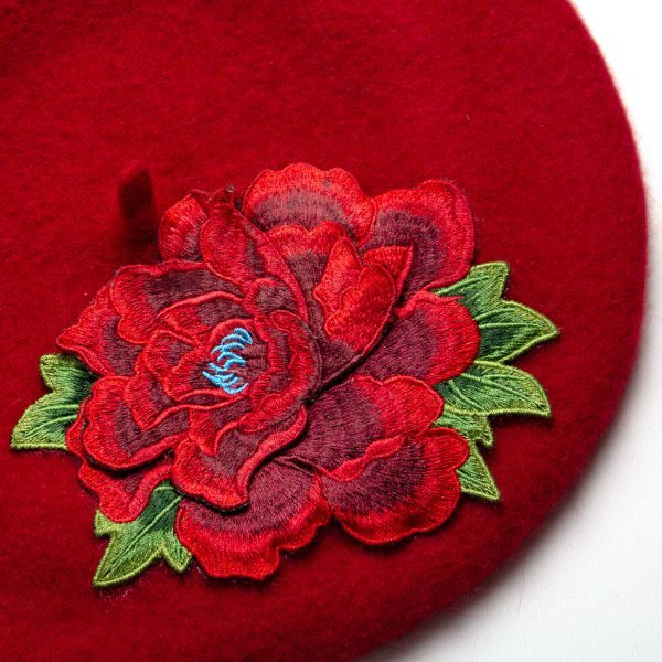 Red Women's Beret with Red Embroidery Flower