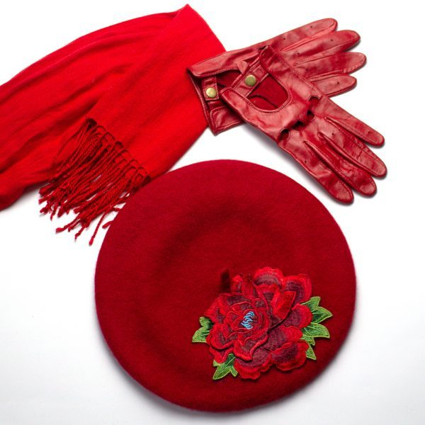Red Beret with Red Flower