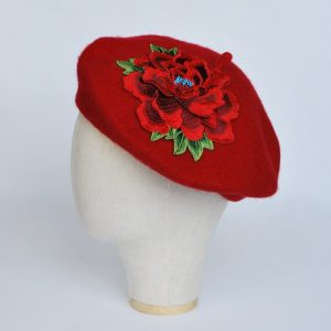 Red French Beret with Red Embroidery Flower
