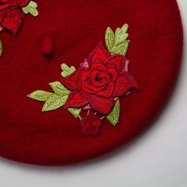 Red French Beret with Red Embroidery Roses
