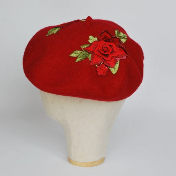 Red Women's Beret Hat with Red Rose Flowers