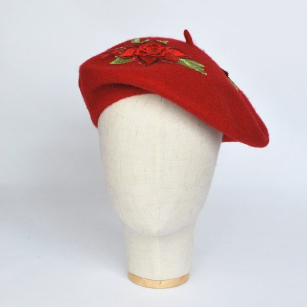 Rd Wool Felt Beret Hat with Red Rose Flowers