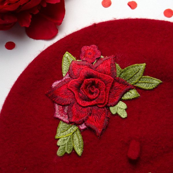 Red Women's Beret with Red Embroidery Roses