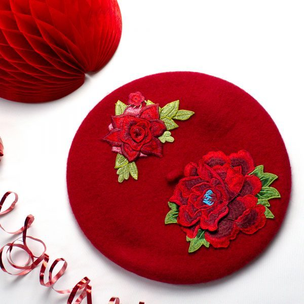 Red Beret with Embroidery Flowers